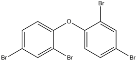 Black and white chemical structure of BDE 47, a PBDE