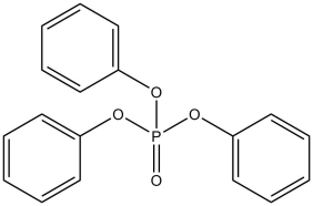 Chemical structure for triphenyl phosphate, an organophosphate flame retardant