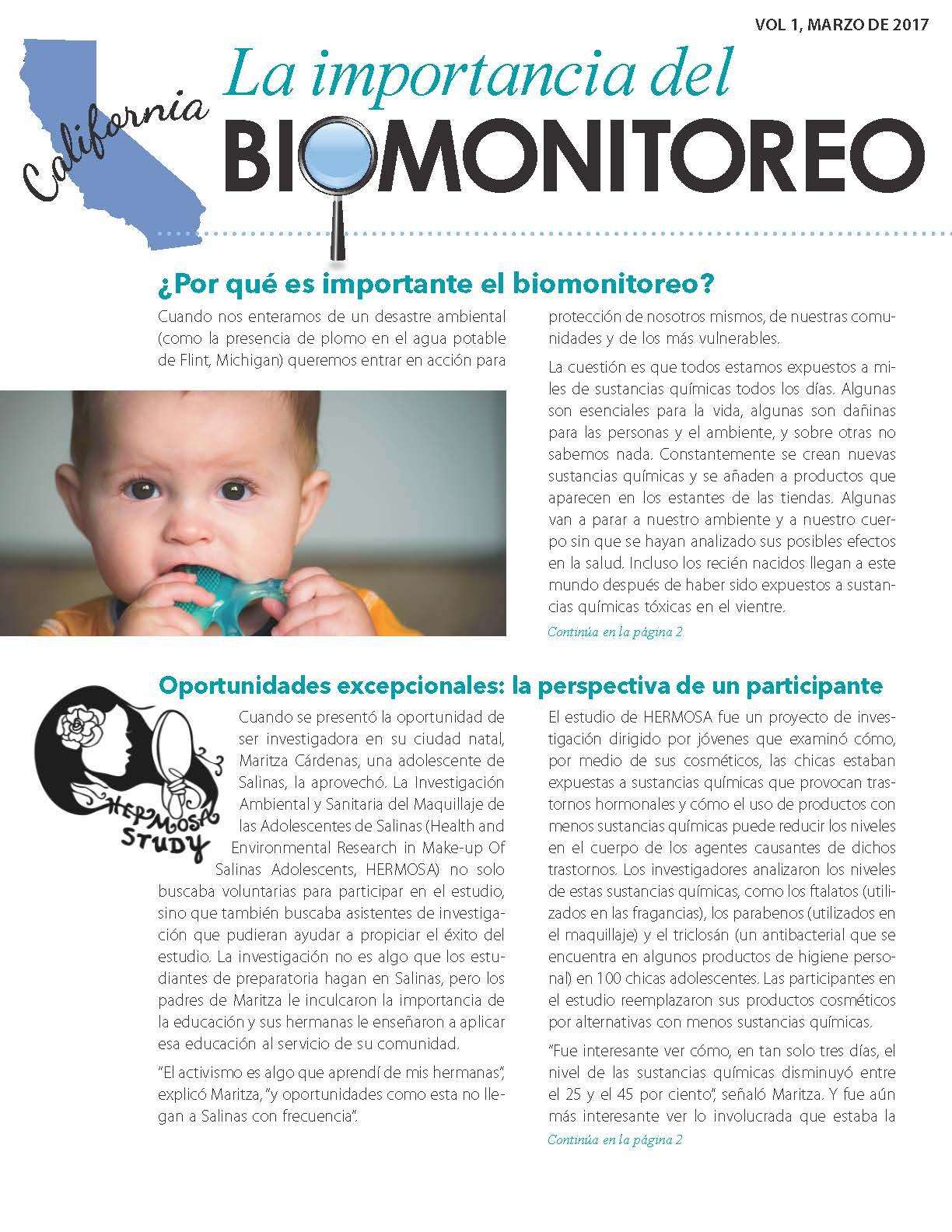 """""""La Importancia del Biomonitoreo"""" página uno"""