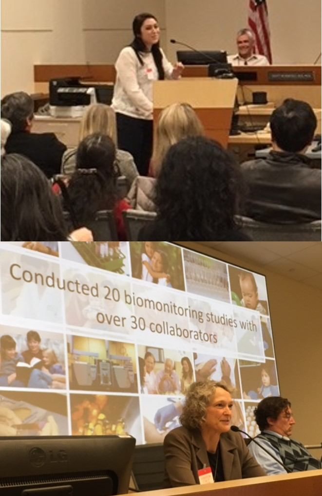 A photo of a young woman speaking to an audience and a second photo of a Panel member speaking with a slide behind her