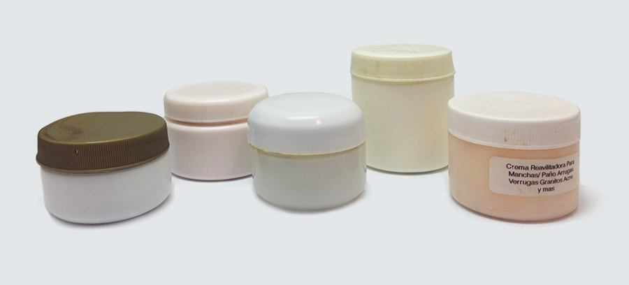 Five plastic jars of different sizes and shapes