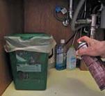 Spraying under kitchen sink