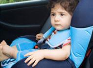 Toddler sitting in car seat