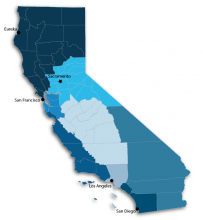 Map of California, showing different regions of the state in different colors