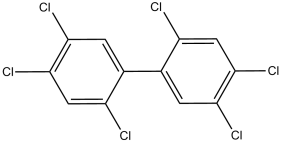Black and white chemical structure of PCB 153