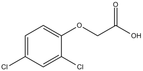 Black and white chemical structure of 2,4-D