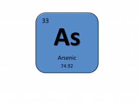 Periodic table entry for arsenic that include the atomic number, abbreviation and mass