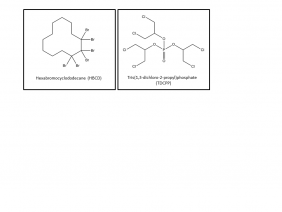 Structure of hexabromocyclododecane (HBCD), a brominated flame retardant & structure of Tris(1,3-dichloro-2-propyl)phosphate  (TDCPP), a chlorinated flame retardant