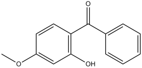 Black and white chemical structure of benzophenone-3