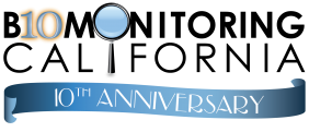 Logo showing 10th anniversary of Biomonitoring California