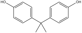 Black and white chemical structure of bisphenol A