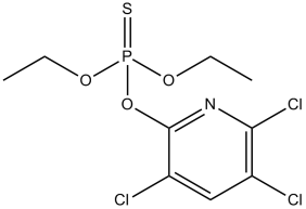 Structure of chlorpyrifos, an organophosphate pesticide