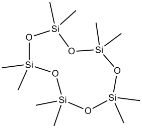 Example structure of a cyclosiloxane- Decamethylcyclopentasiloxane (D5)