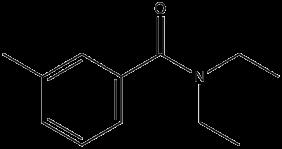 Black and white chemical structure for N,N-Diethyl-3-methylbenzamide (DEET)