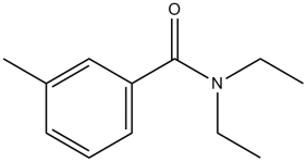 Black and white chemical structure for N,N-Diethyl-3-methylbenzamide (DEET)