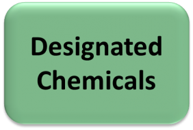 "Green box with black text saying ""designated chemicals"""