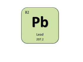 Periodic table entry for lead that include the atomic number, abbreviation and mass