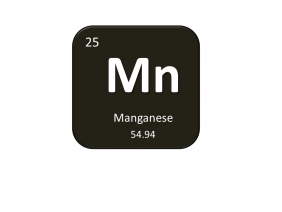 Periodic table entry for manganese that include the atomic number, abbreviation and mass