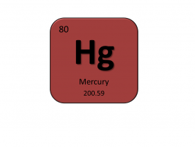 Periodic table entry for mercury that include the atomic number, abbreviation and mass
