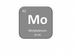 Periodic table entry for molybdenum that includes the atomic number, abbreviation and mass
