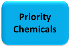 """Blue box with black text saying """"priority chemicals"""""""