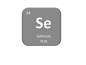 Periodic table entry for selenium that includes the atomic number, abbreviation and mass