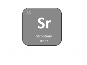 Periodic table entry for strontium that includes the atomic number, abbreviation and mass