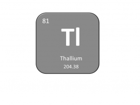 Periodic table entry for thallium that includes the atomic number, abbreviation and mass