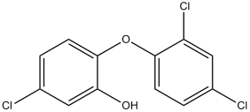 Black and white chemical structure of triclosan