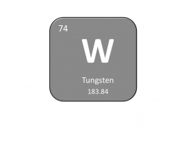 Periodic table entry for tungsten that includes the atomic number, abbreviation and mass
