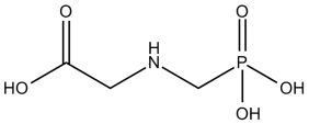 Black and white chemical structure of glyphosate