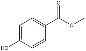 Black and white chemical structure for methyl paraben