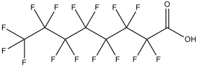Black and white chemical structure of perfluorooctanoic acid (PFOA)