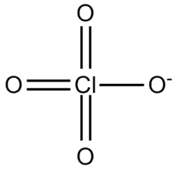 Black and white chemical structure of perchlorate