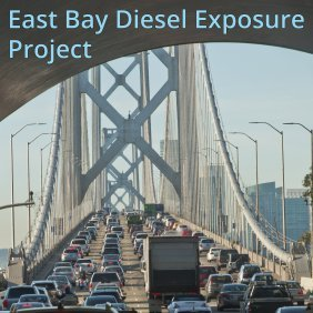 Photo of heavy traffic on the Bay bridge, with San Francisco skyline in the distance