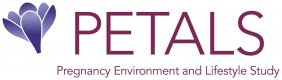 Logo for PETALS study, shows a drawing of a flower and spells out PETALS as Pregnancy, Environment and Lifestyle Study