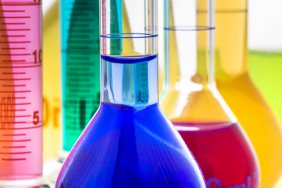 Flasks and test tubes full of colorful liquid
